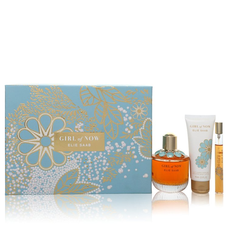 Girl of Now by Elie Saab Gift Set - 3 oz (90ml) Eau De Parfum Spray + 2.5 oz (75ml) Body Lotion + 0.33 oz (10ml) Mini EDP Spray