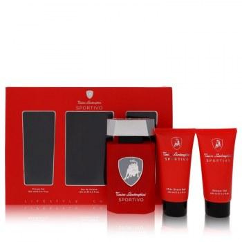 Lamborghini Sportivo Gift Set: 4.2 oz Eau De Toilette Spray + 3.4 oz Shower Gel + 3.4 oz After Shave Balm