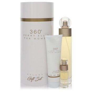 Perry Ellis 360 Gift Set: 3.4 oz Eau De Toilette Spray + 0.05 oz Mini EDT Spray + 3 oz Shower Gel